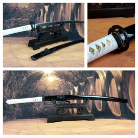 Mus samurai zwaard zwart met witte ito