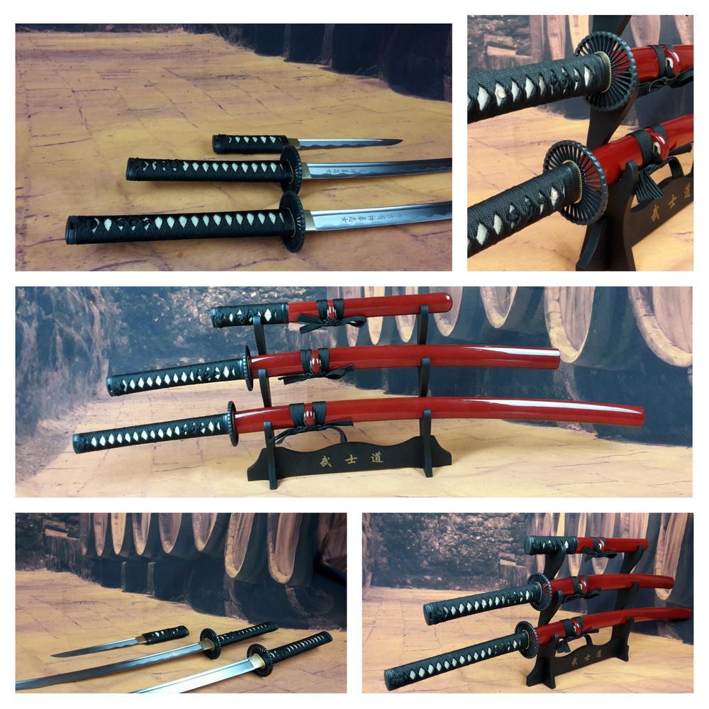 Battle ready Last samurai katana zwaarden set van carbon staal