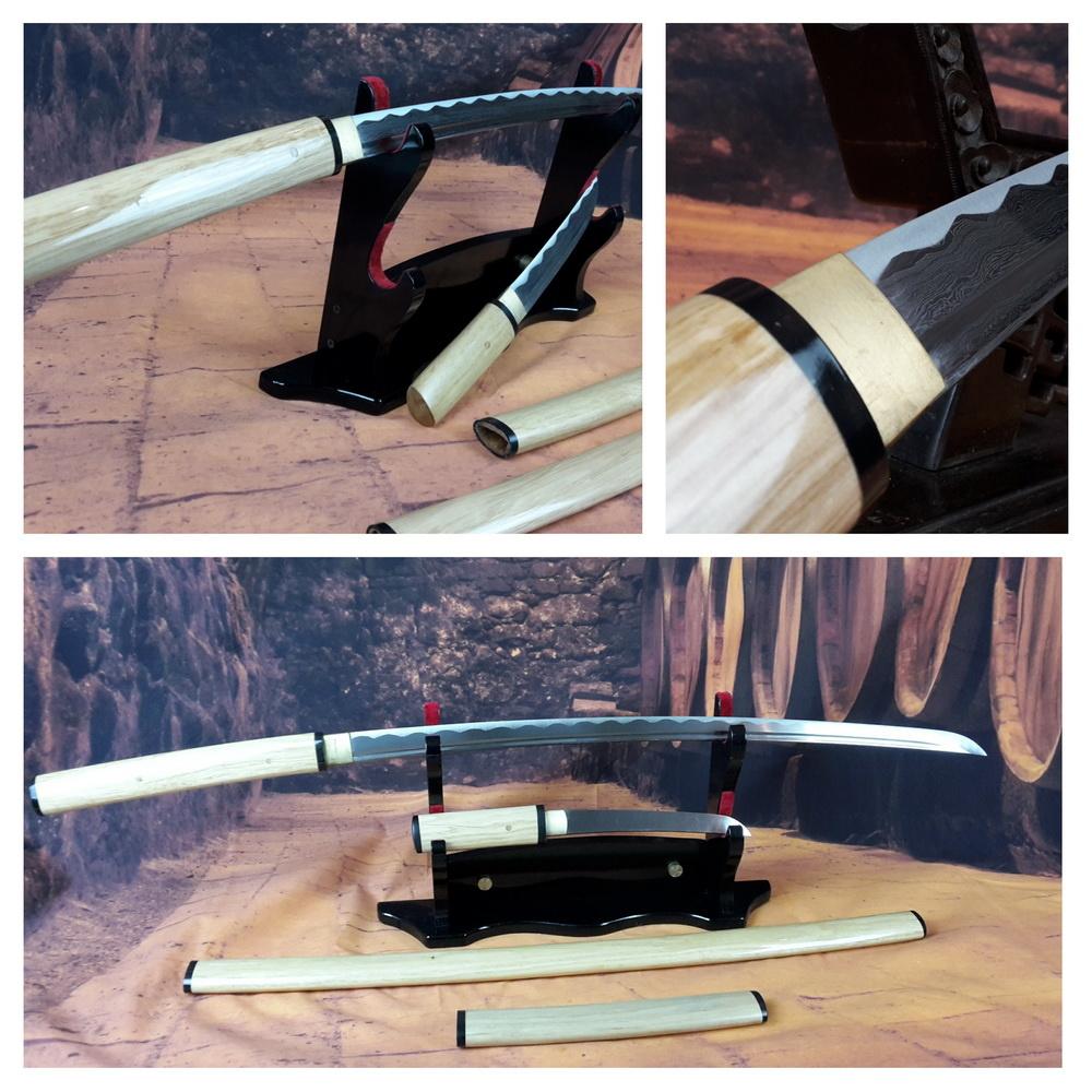 Shirasaya damast samurai zwaarden set
