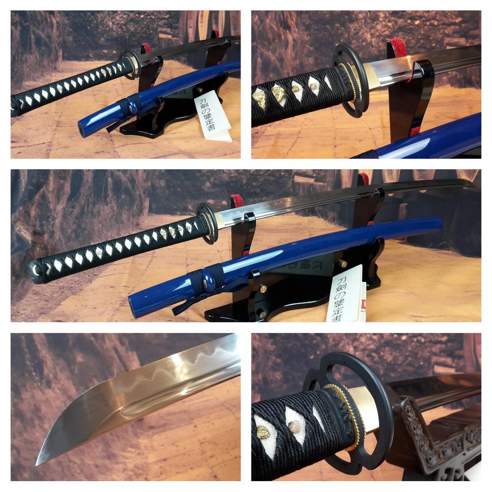 1095 koolstof staal Tameshigiri en Iaido zwaard clay tempered Blauwe saya