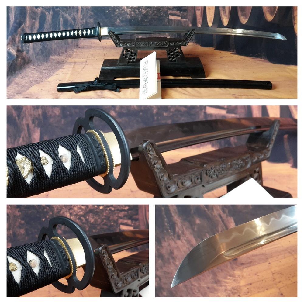 1095 koolstof staal Tameshigiri zwaard, clay tempered, zwarte saya