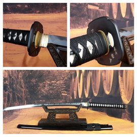 H 1095 koolstof staal Tameshigiri zwaard, clay tempered, zwarte say