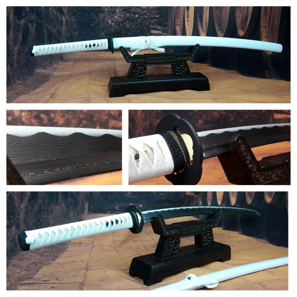 Damast staal samurai zwaard wit