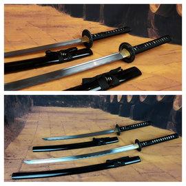 Samurai zwaarden set zwart wakizashi en katana