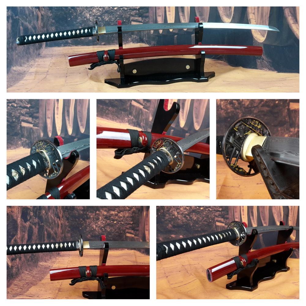 Damast staal N samurai zwaard rood