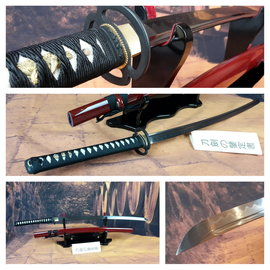 1095 koolstof staal Tameshigiri en Iaido zwaard clay tempered met Rode saya
