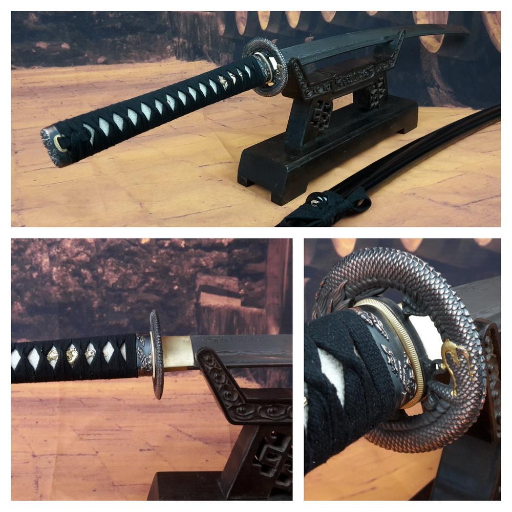 Damast staal Dragon samurai zwaard