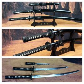 Zwarte Battle ready Last samurai katana zwaarden set van carbon staal