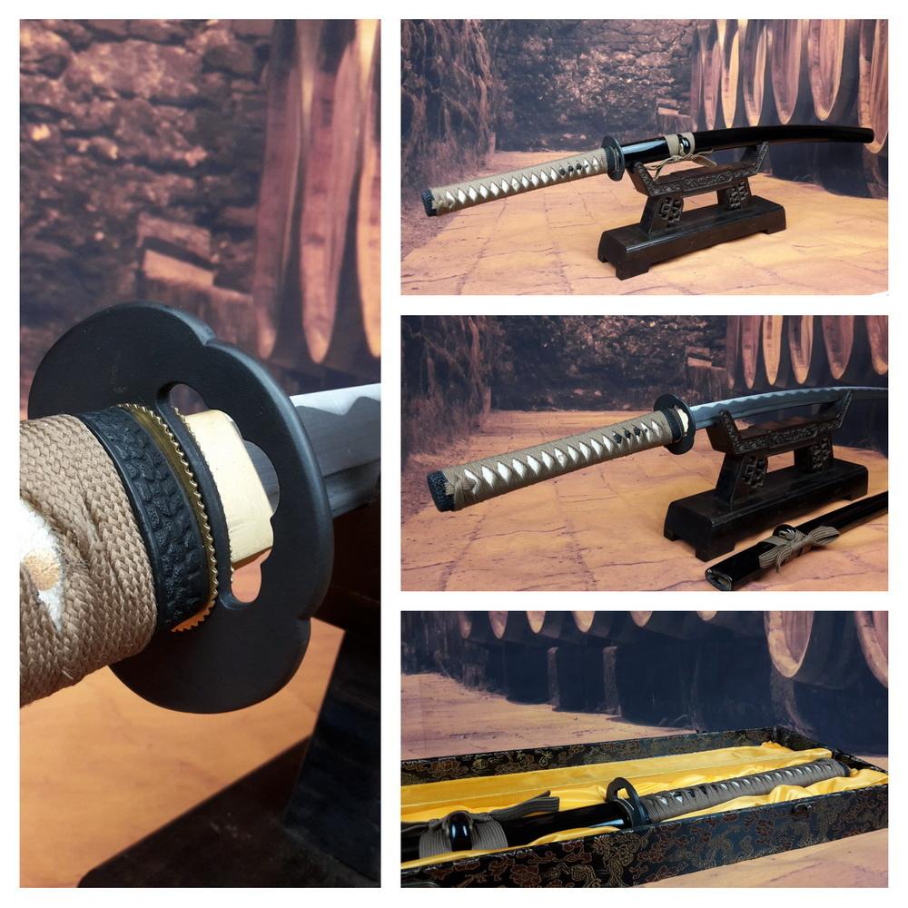 Damast staal samurai zwaard bruin