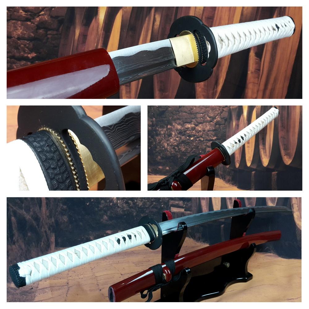 B Damast staal samurai zwaard wit/rood
