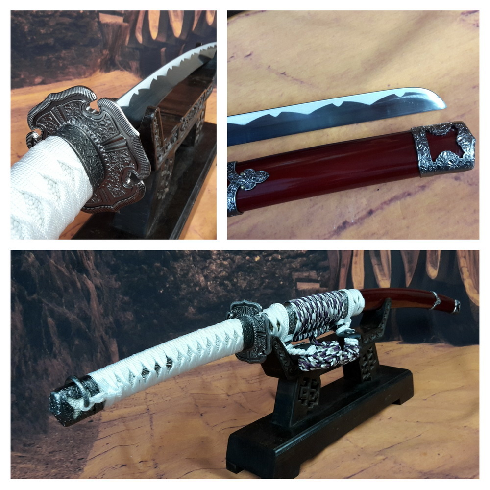Samurai Katana zwaard donker rood met wit