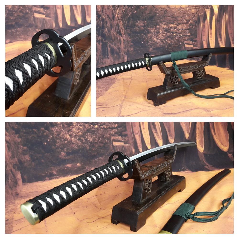 Samurai Katana zwaard zwart met groen koord