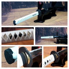 B Damast staal samurai wit/zwart