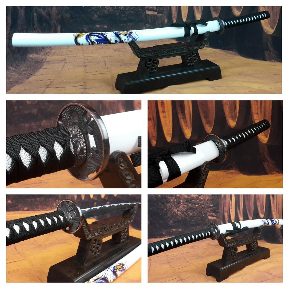 Wit rvs samurai zwaard met draak