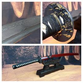 Rode Damast katana samurai zwaard
