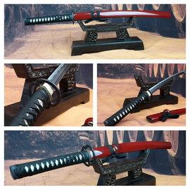 Wakizashi mus samurai zwaard met rode saya