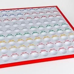 Bingo controlebord 1-90 kunststof, grote ballen