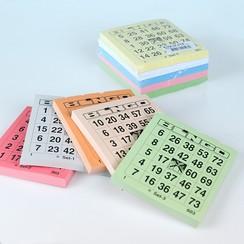 Bingokaarten 1-75 big 5 kleuren 1 GROOT ticket per vel