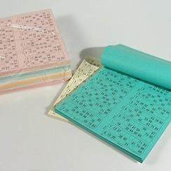 Bingokaarten 1-90 10 kleuren Dubbel