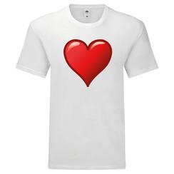 T-shirt wit met rood hart