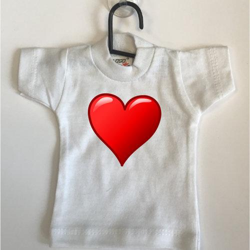 Mini T-shirt wit met rood hart