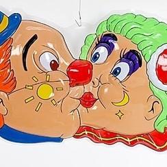 Wanddeco kussende clowns 45x78cm brandveilig