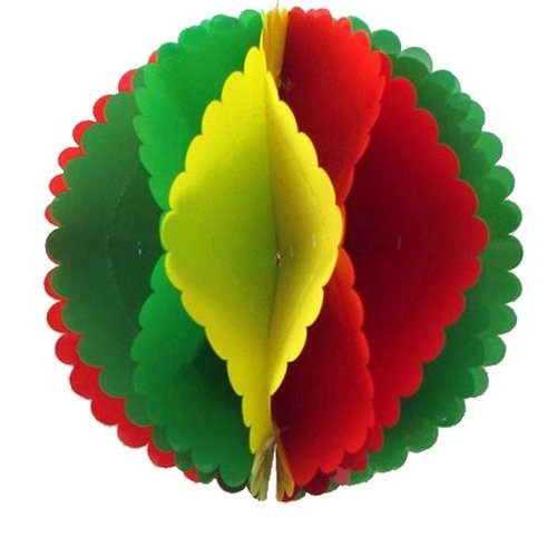 Decoratie bal rood-geel-groen 30 cm brandveilig