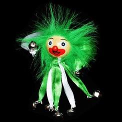 Clownsbroche groen-wit
