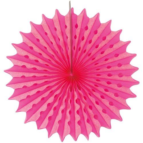 Decoratie waaier neon roze 45 cm
