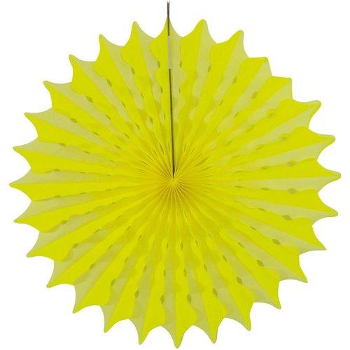 Decoratie waaier neon geel 45 cm