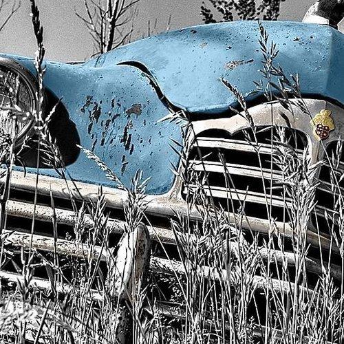 Deursticker oldtimer blauw 90 x 200 cm