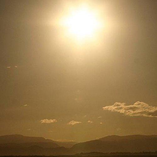 Deursticker zonsondergang strand 90 x 200 cm