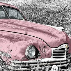 Deursticker oldtimer roze 90 x 200 cm