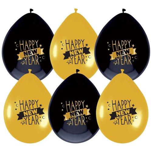 Ballonnen Happy New Year 25 cm 6 stuks