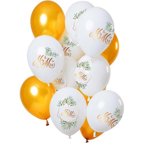Set ballonnen huwelijk Mr en Mrs 12 stuks