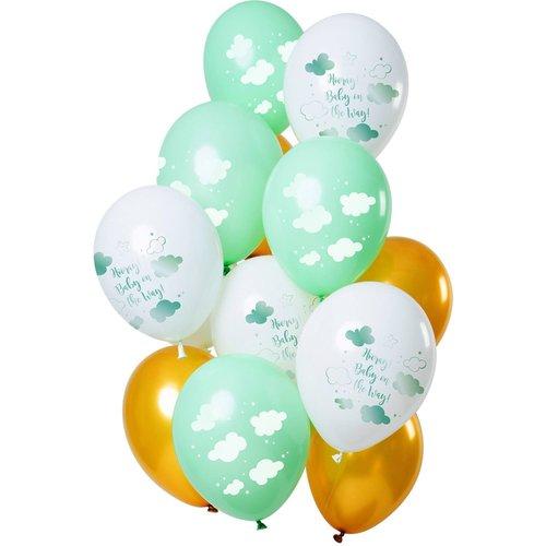 Set ballonnen Baby on the Way 12 stuks