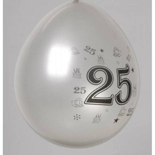 Ballon zilver cijfer 25 ø 30 cm 8 stuks
