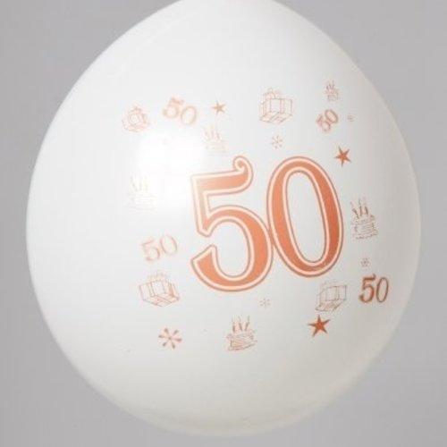 Ballon cijfer 50 ø 30 cm 8 stuks