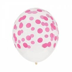 Ballon confetti roze ø 30 cm 6 stuks