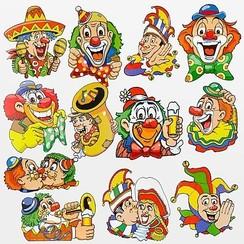 Raamdecoraties clowns 42 x 30 cm 12 stuks
