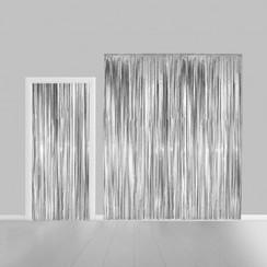 Folie deurgordijn XL zilver metallic 2,4 x 1 m brandveilig