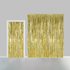 Folie deurgordijn XL goud metallic 2,4 x 1 m brandveilig