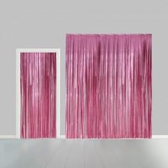 Folie deurgordijn XL roze metallic 2,4 x 1 m brandveilig