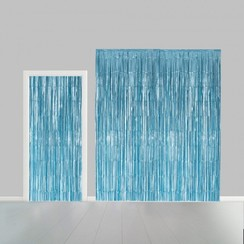 Folie deurgordijn XL lichtblauw metallic 2,4 x 1 m brandveilig