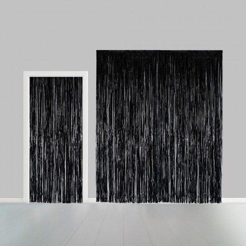 Globos Nordic Folie deurgordijn XL zwart metallic 2,4 x 1 m brandveilig