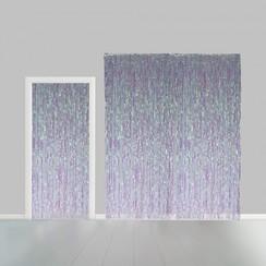 Folie deurgordijn XL regenboog metallic 2,4 x 1 m brandveilig