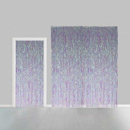 Globos Nordic Folie deurgordijn XL regenboog metallic 2,4 x 1 m brandveilig