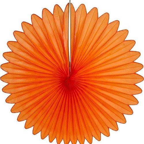 Decoratie waaier oranje 68 cm brandveilig