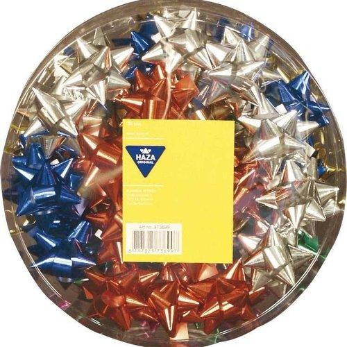 Haza Original Strik rozetten metallic diverse kleuren 50 mm 50 stuks