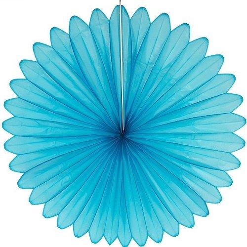 Decoratie waaier lichtblauw 68 cm brandveilig